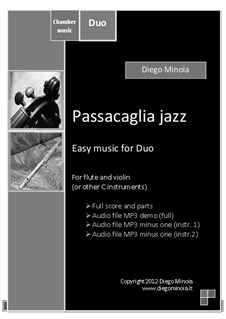 Duet pack No.1 (easy): Passacaglia jazz: For C instrument (sheet+mp3 duet+mp3 minus instrument 2+mp3 minus instrument 1) by Diego Minoia