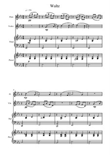 No.8 Waltz: Arrangement for flute, violin, piano and harp by Pyotr Tchaikovsky