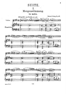 Suite No.1, Op.46: Arrangement for violin and piano by Edvard Grieg
