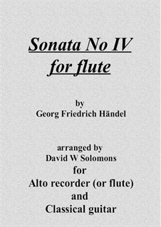 Sonata for Flute and Harpsichord in C Major, HWV 365 Op.1 No.7: Version for flute (or recorder) and guitar by Georg Friedrich Händel