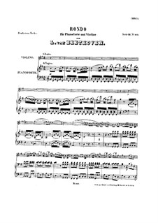 Rondo for Violin and Piano, WoO 41: Score, solo part by Ludwig van Beethoven