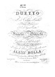 Duo for Violin and Viola, BI 102: Duo for Violin and Viola by Alessandro Rolla