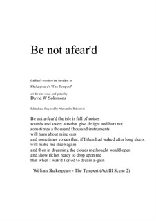 Be not afear'd: For alto and guitar by David W Solomons