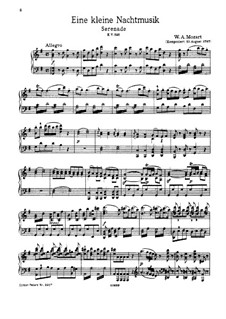 Complete Movements: For piano by Wolfgang Amadeus Mozart