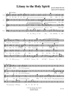 Litany to the Holy Spirit for choir (SATB): Litany to the Holy Spirit for choir (SATB) by David W Solomons