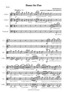 Dance for Pan: Version for string quartet by Jacques-Martin Hotteterre, David W Solomons