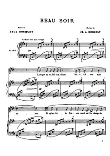 Beau soir (One Evening), L.6: For voice and piano by Claude Debussy