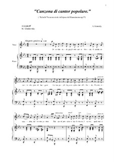Raphael, Op.37: Canzona di cantor popolare, for voice and piano by Anton Arensky