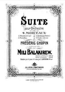 Suite for Orchestra: Arrangement for piano four hands – parts by Mily Balakirev