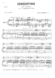 Concertino for Clarinet and Orchestra, J.109 Op.26: Version for clarinet and piano by Carl Maria von Weber