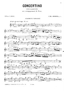 Concertino for Clarinet and Orchestra, J.109 Op.26: Version for clarinet and piano – solo part by Carl Maria von Weber
