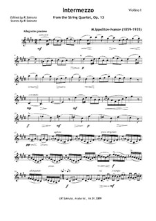 String Quartet in A Minor, Op.13: Intermezzo – Parts by Mikhail Ippolitov-Ivanov