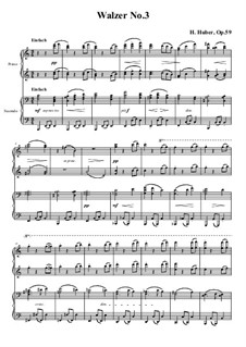 Waltzes for Piano Four Hands, Op.59: No.3 in A Minor by Hans Huber