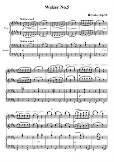 Waltzes for Piano Four Hands, Op.59: No.5 in B Major by Hans Huber