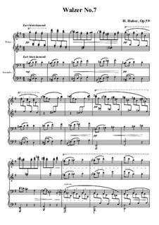 Waltzes for Piano Four Hands, Op.59: No.7 in G Major by Hans Huber