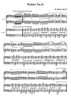Waltzes for Piano Four Hands, Op.59: No.11 in F Sharp Major by Hans Huber