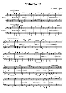Waltzes for Piano Four Hands, Op.59: No.12 in B Flat Major by Hans Huber