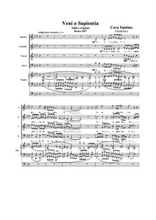Veni o sapientia. SATB and organ, CS118 No.1: Veni o sapientia. SATB and organ by Santino Cara