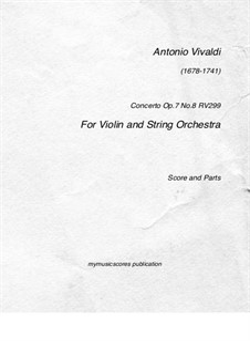 Concerto for Violin and Strings No.2 in G Major, RV 299 Op.7: Full score, parts by Antonio Vivaldi