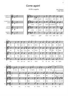 Come Again by J. Dowland - sheet music on MusicaNeo