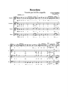 Recordata. Verse for SATB a cappella, CS126 No.3: Recordata. Verse for SATB a cappella by Santino Cara
