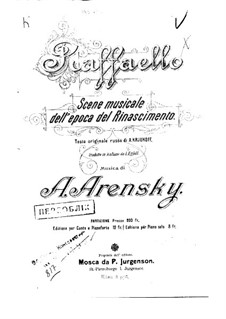 Raphael, Op.37: Piano-vocal score by Anton Arensky
