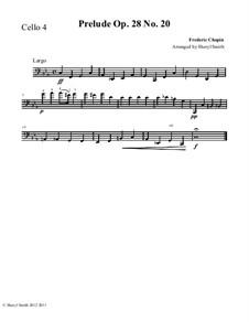 No.20 in C Minor: For intermediate cello quartet (four cellos) by Frédéric Chopin