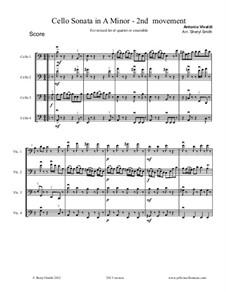 Sonata for Cello No.3 in A Minor, RV 43: Movement II Allegro, for mixed-level cello quartet (four cellos) or cello ensemble by Antonio Vivaldi