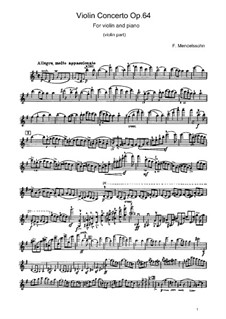 Concerto for Violin and Orchestra in E Minor, Op.64: Version for violin and piano – violin part by Felix Mendelssohn-Bartholdy