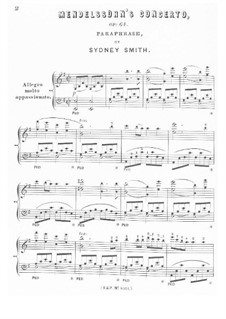 Concerto for Violin and Orchestra in E Minor, Op.64: Version for piano by Felix Mendelssohn-Bartholdy