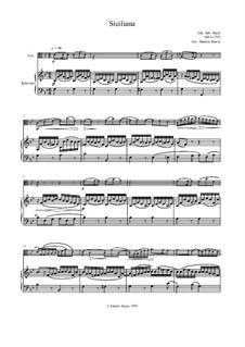 Siciliana: For viola and piano by Johann Sebastian Bach