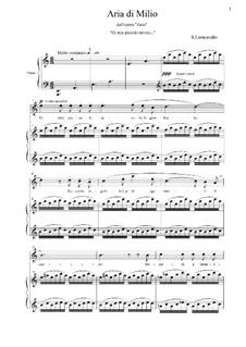 Zazà: Aria di Milio 'O, mio piccolo tavolo...' for voice and piano by Ruggero Leoncavallo