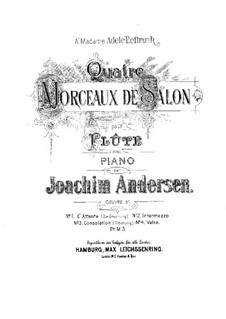 Four Pieces for Flute and Piano, Op.51: Four Pieces for Flute and Piano by Joachim Andersen