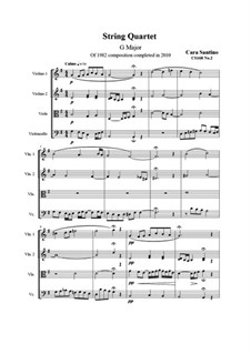 String quartet No.2 in G major, CS168 No.2: String quartet No.2 in G major by Santino Cara