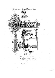 Two Preludes for Piano, Op.8: Two Preludes for Piano by Konstantin Antipov