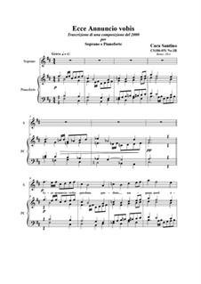 21 Opera Arias and Sacred Arias for Soprano: Ecce Annuncio vobis. Soprano and piano, CS186-051 No.1B by Santino Cara