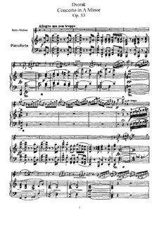 Concerto for Violin and Orchestra in A Minor, B.108 Op.53: Version for violin and piano by Antonín Dvořák
