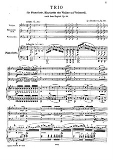 Trio for Clarinet (or Violin), Cello and Piano, Op.38: Full score by Ludwig van Beethoven