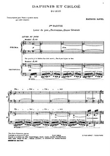 Daphnis et Chloé. Suite No.2, M.57b: For piano four hands by Maurice Ravel