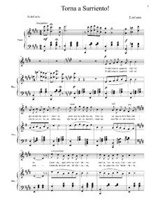 Torna a Surriento: For voice and piano by Ernesto de Curtis