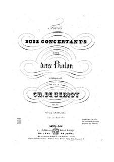 Three Concert Duos, Op.57: Complete set by Charles Auguste de Beriot