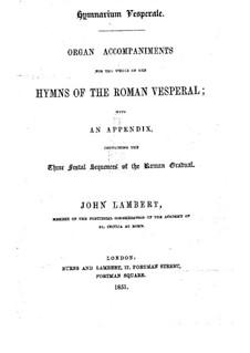 Hymns of the Roman Vesperal: Hymns of the Roman Vesperal by John Lambert