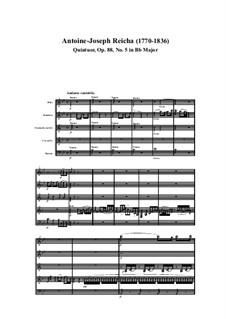 Woodwind Quintet in B Flat Major, Op.88 No.5: Movement I by Anton Reicha