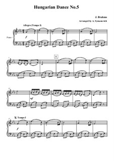 Dance No.5 in F Sharp Minor: For easy piano by Johannes Brahms