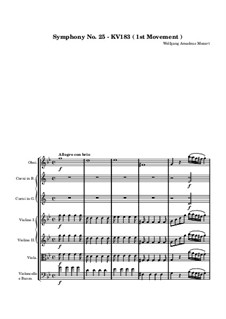 Symphony No.25 in G Minor, K.183: Movements I-II by Wolfgang Amadeus Mozart