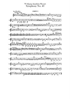 Complete Movements: Horns parts by Wolfgang Amadeus Mozart