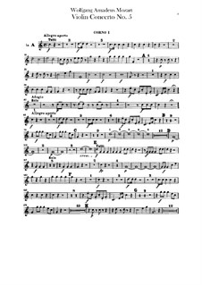 Concerto for Violin and Orchestra No.5 in A Major 'Turkish', K.219: Horns parts by Wolfgang Amadeus Mozart