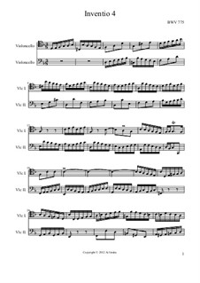 No.4 in D Minor, BWV 775: For two cellos by Johann Sebastian Bach
