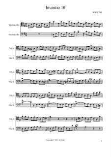 No.10 in G Major, BWV 781: For two cellos by Johann Sebastian Bach