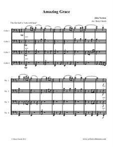 Amazing Grace: For four cellos (cello quartet) by folklore